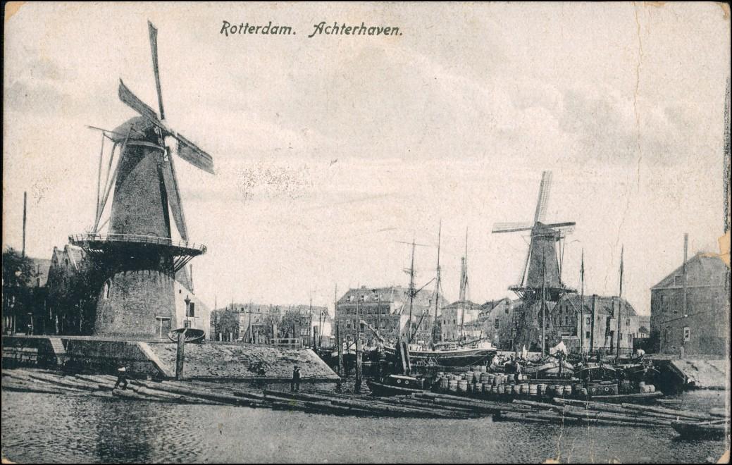 Postkaart Rotterdam Rotterdam Windmühlen - Achterhaven 1912