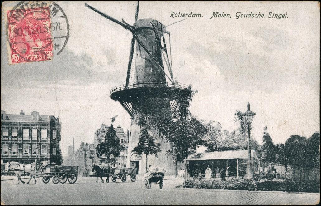 Postkaart Rotterdam Rotterdam Windmühlen Molen Goudsche Singel 1920