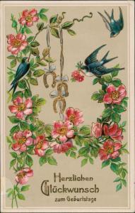 Ansichtskarte  Schwalben, Hufeisen Blumen 1915 Goldrand