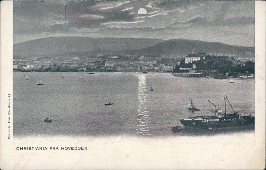 Postcard Oslo Kristiania Stadt bei Mondschein 1903