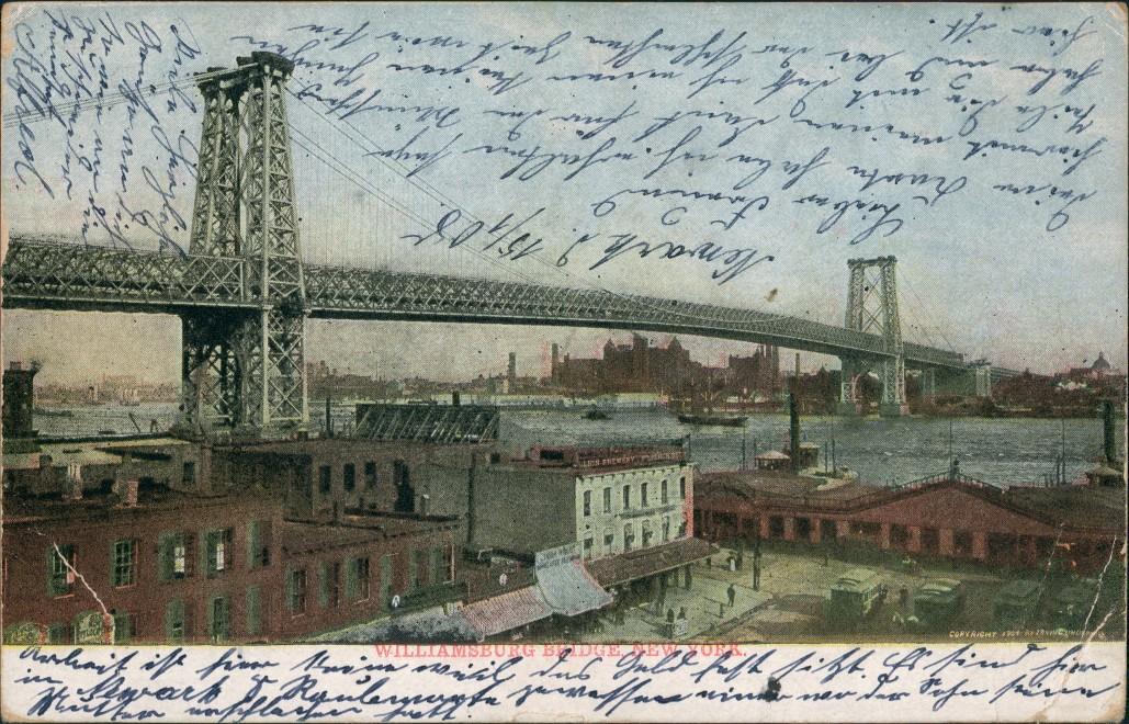 Postcard Manhattan-New York City Stadt Williamsbrigde 1908