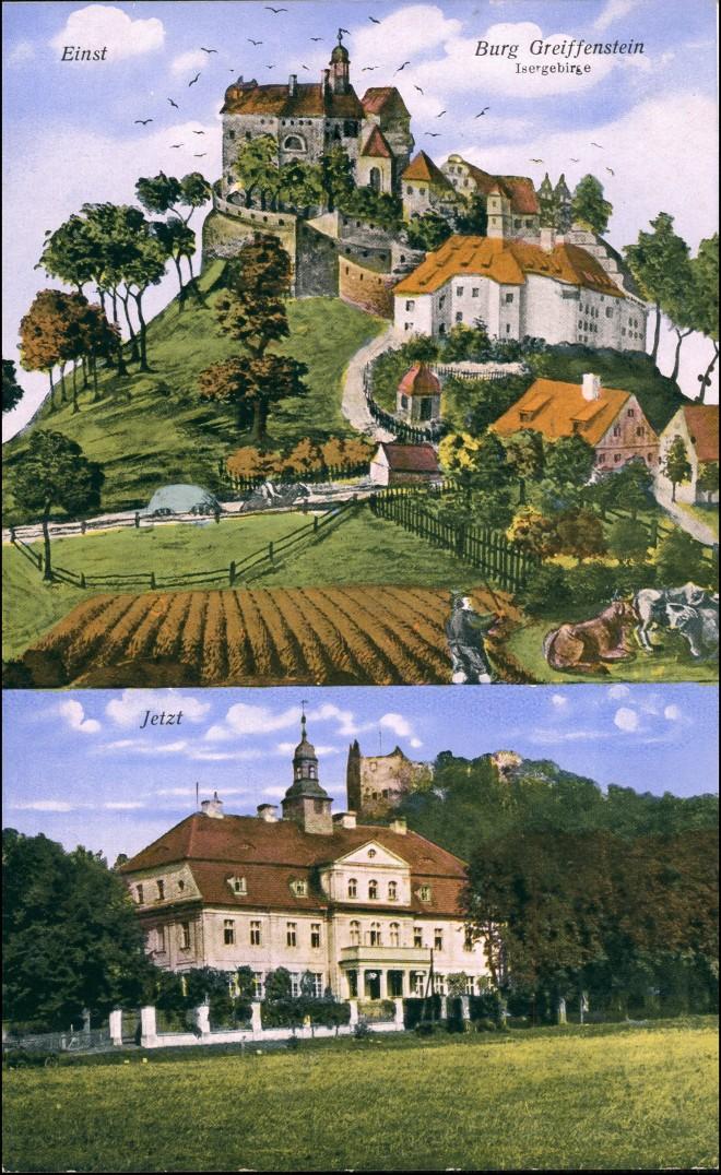 Greiffenberg Gryfów Śląski Burgruine Greiffenstein 2 Bild einst  Jetzt 1928