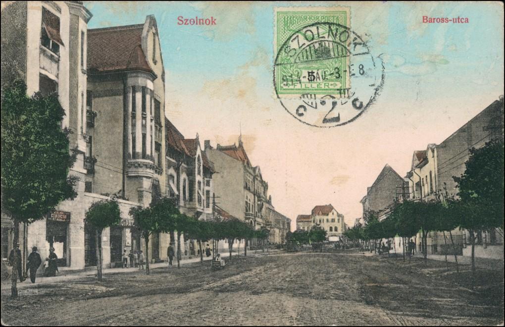 Postcard Sollnock Szolnok Baross-ucta 1914