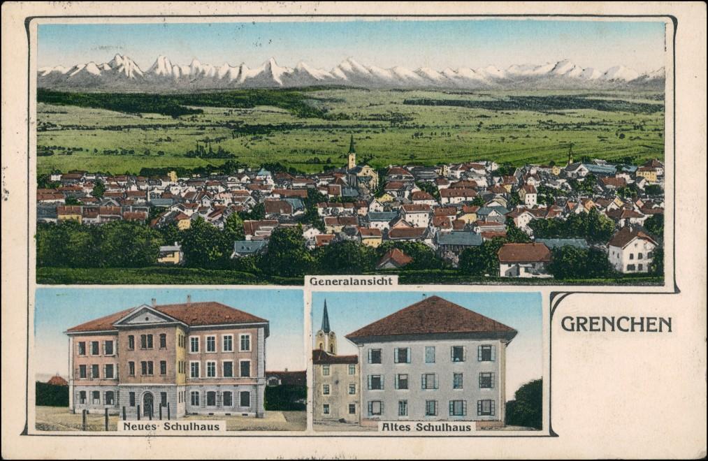 Ansichtskarte Grenchen-Bösingen FR 3 Bild: Totale, Schule 1912