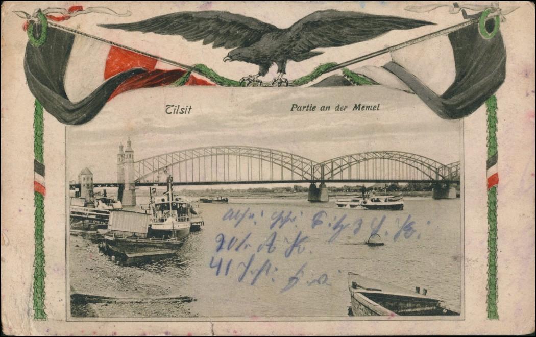 Postcard Tilsit Советск Stadt, Patriotika - Brücke 1915