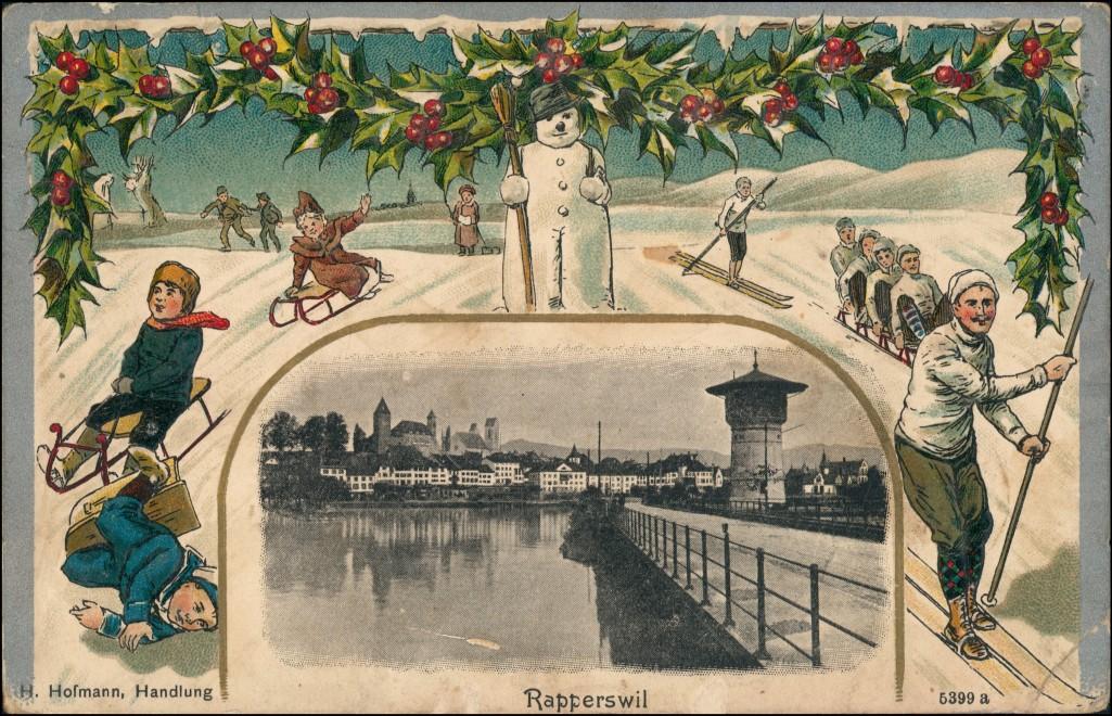 Rapperswil-Jona Stadt, Wasserturm - Winter AK Schlitten 1916 Prägekarte