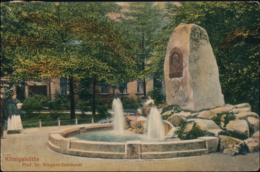 Postcard Königshütte (Oberschlesien) Chorzów Prof. Wagner Denkmal 1914