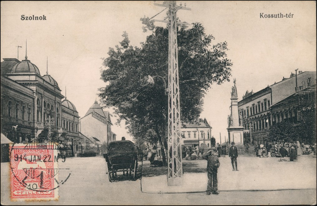 Postcard Sollnock Szolnok Kossuth ter, Kutsche 1913