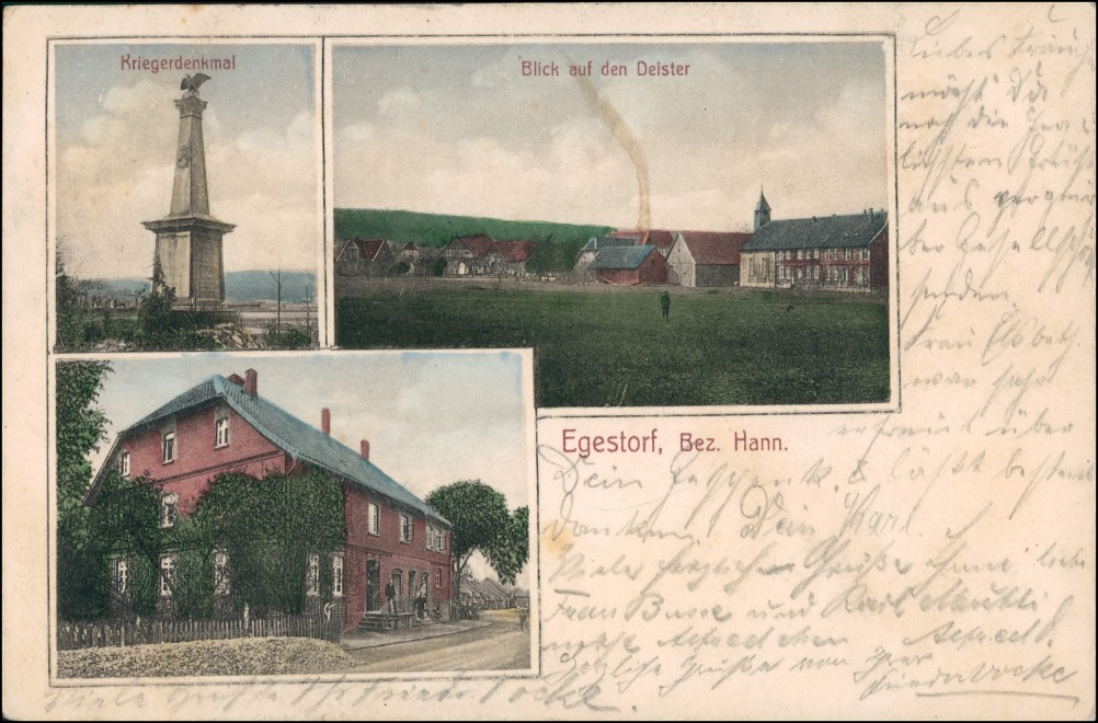 Ansichtskarte Egestorf 3 Bild Kriegerdenkmal, Gasthaus, Stadt 1912