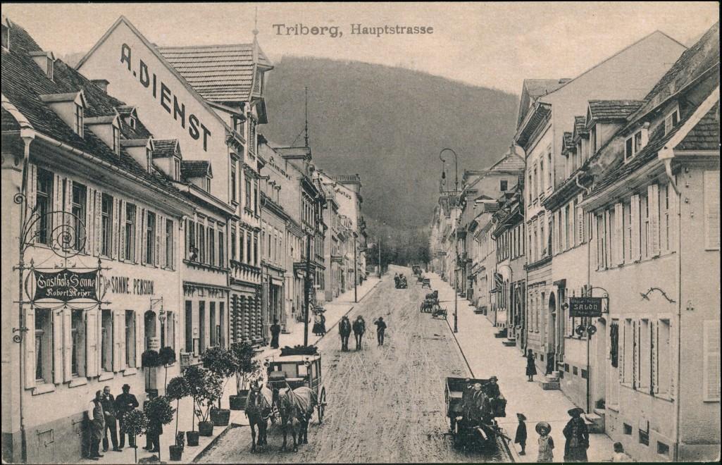 Ansichtskarte Triberg im Schwarzwald Hauptstrasse - A. Dienst Restaurant 1912