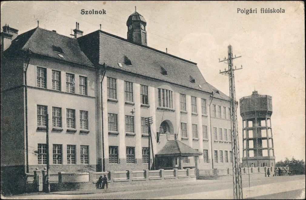 Postcard Sollnock Szolnok Polgari fiuskola 1912