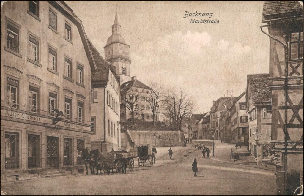 Ansichtskarte Backnang Adler Apotheke - Marktstraße 1930