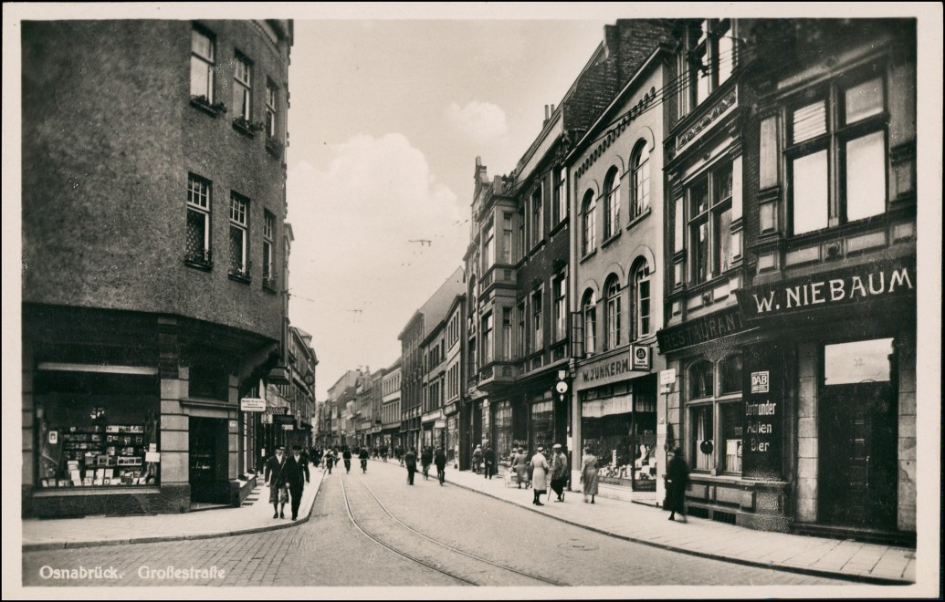 Ansichtskarte Osnabrück Große Straße - Geschäfte Schaufenster 1930