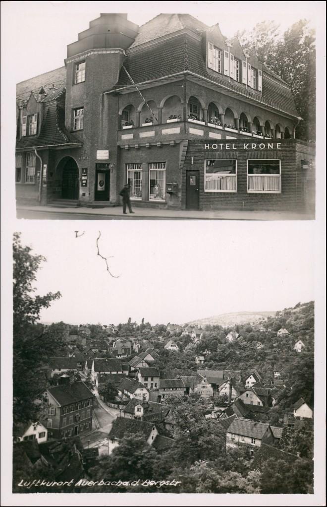 Ansichtskarte Auerbach (Bergstraße) 2 Bild Hotel Krone, Stadt 1932