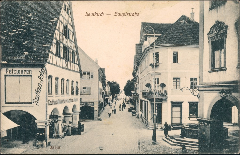Ansichtskarte Leutkirch im Allgäu Hauptstraße Kaufhaus Anker 1927