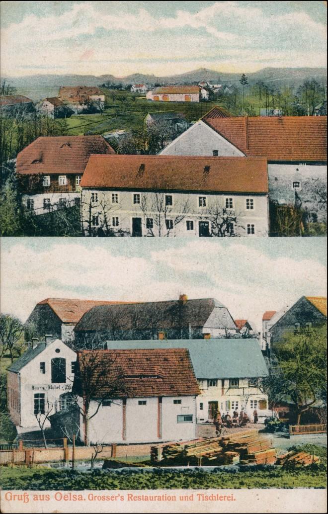 Ansichtskarte Oelsa-Löbau Tischlerei, Restaurant 1911