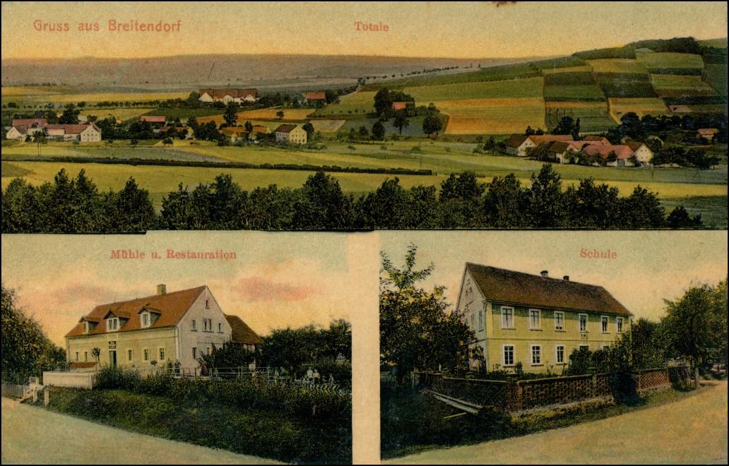 Ansichtskarte Breitendorf-Hochkirch Bukecy 3 Bild: Totale Mühle Schule 1912