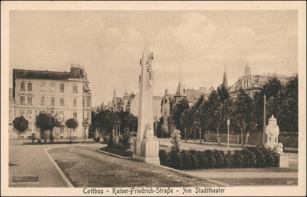 Ansichtskarte Cottbus Kaiser Friedrich Straße Denkmal 1923