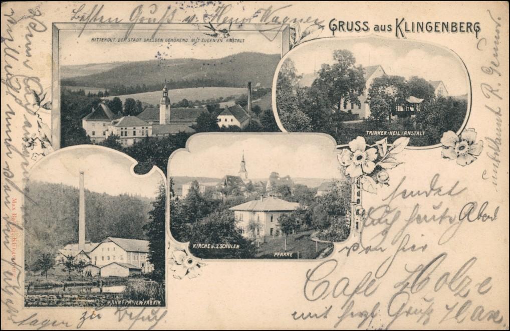 Ansichtskarte Klingenberg (Sachsen) Papierfabrik, Kirche, Stadt 1905