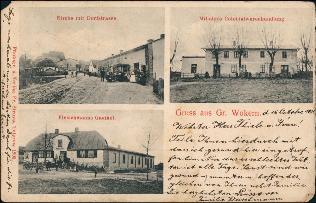 Groß Wokern (Lk Rostock) Dorfstraße, Gasthof, Warenhandlung 1906 0