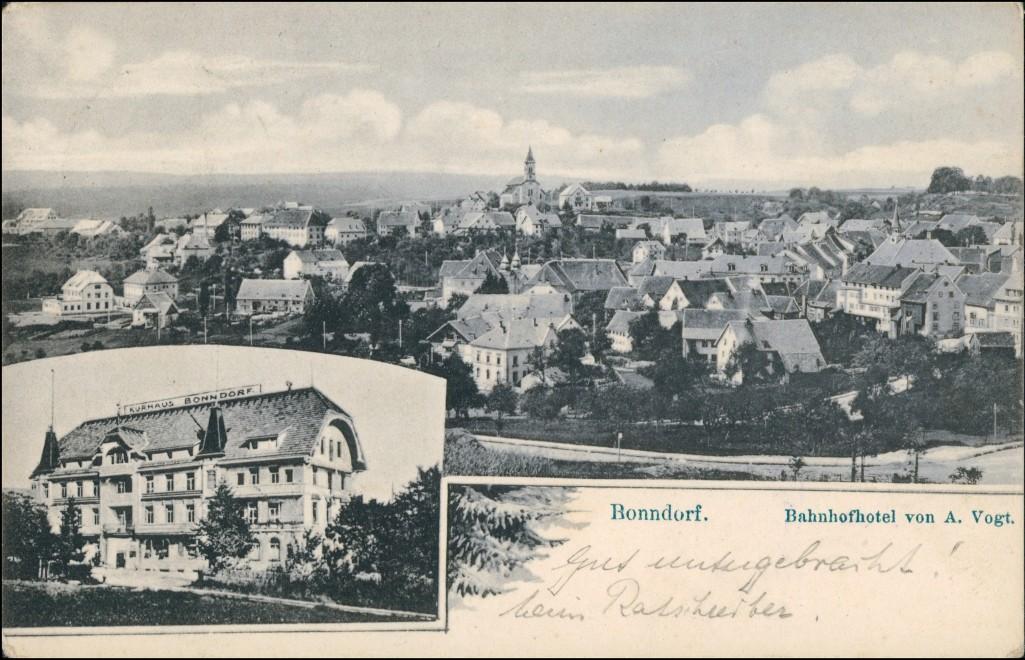 Ansichtskarte Bonndorf (Schwarzwald) Stadt, Bahnhofshotel - 2 Bild 1908