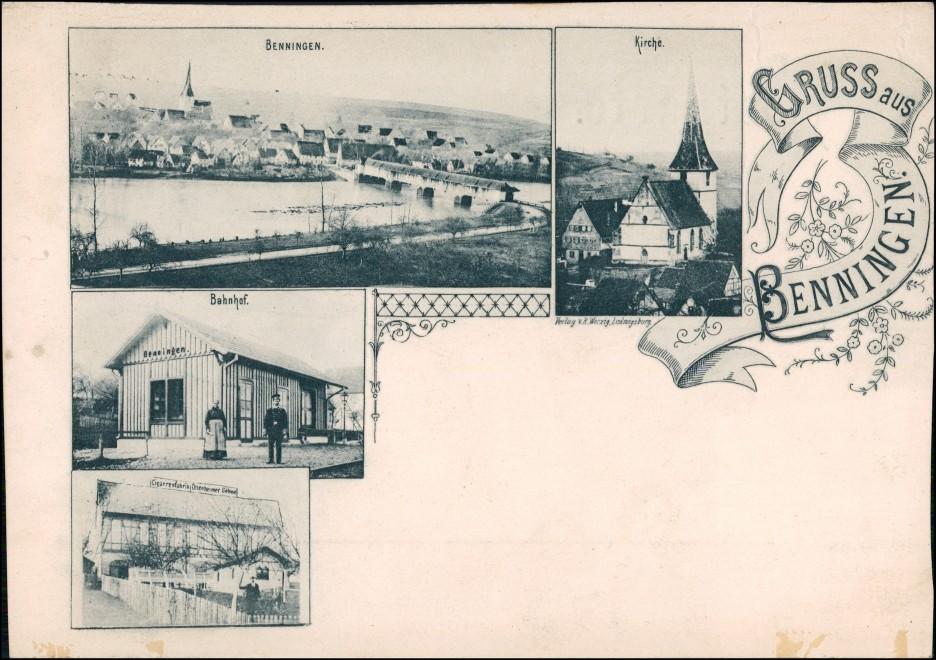 Ansichtskarte Benningen am Neckar Bahnhof, Gasthof, Kirche 1908