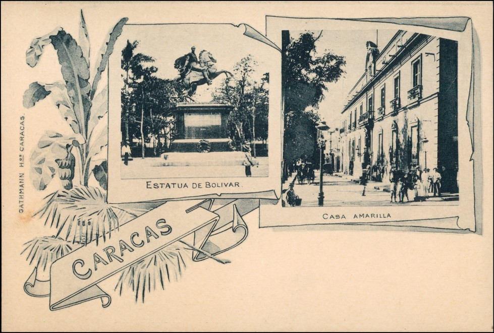 Postcard Caracas Casa Amarilla, Estatua de Bolivar 1907