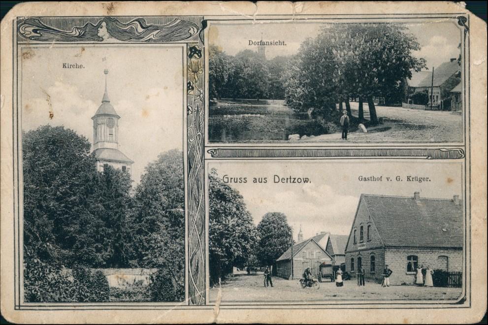 Dertzow LK Soldin Neumark Derczewo (Lk Myślibórz Gasthof, Straße Lippehne 1909