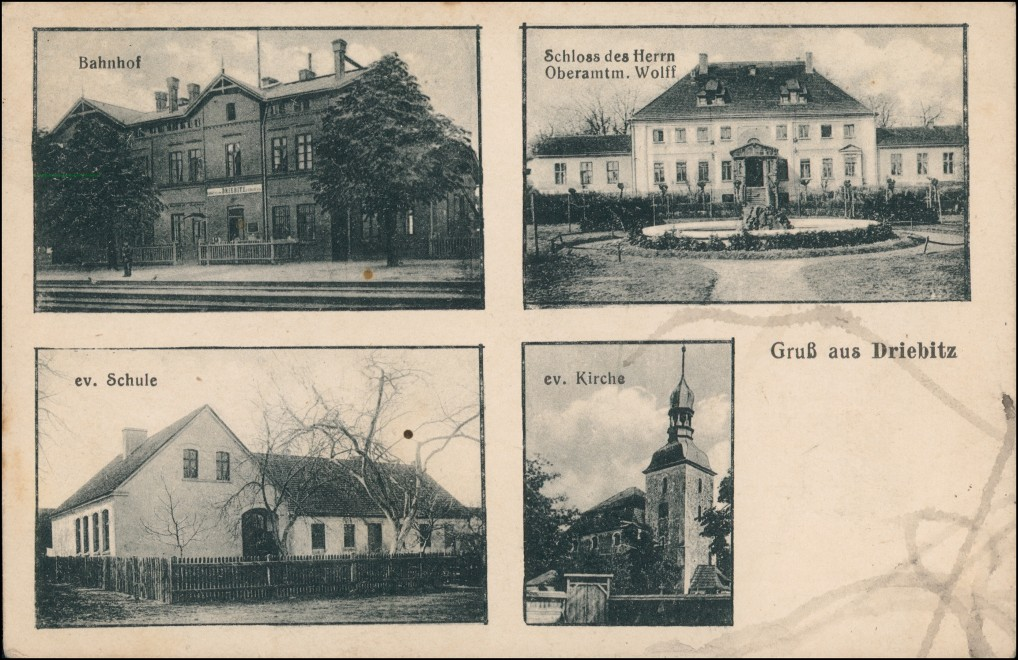Driebitz (LK Fraustadt) Wschowa 4 Bild: Bahnhof, Schloß, Schule, Kirche 1922