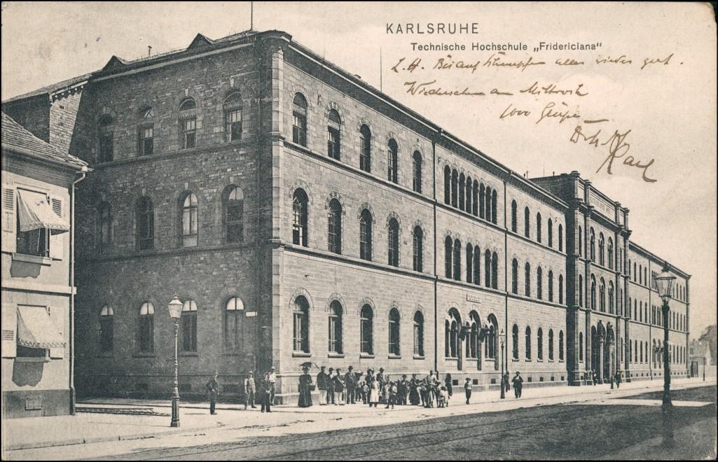Ansichtskarte Karlsruhe Straßenpartie Technische Hochschule Fridericiana 1905