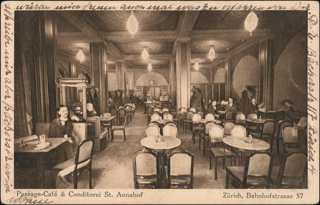 Ansichtskarte Zürich Passage Cafe St. Annahof, Bahnhofstrasse 57 1922