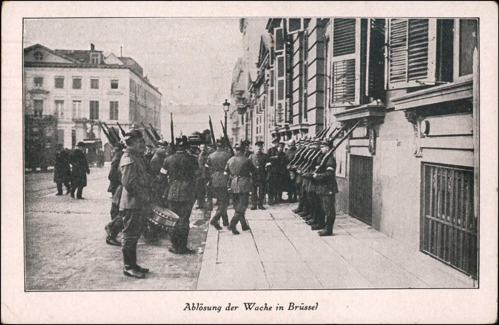 Postkaart Brüssel Bruxelles Ablösung der Wache - Straße WK1 1916