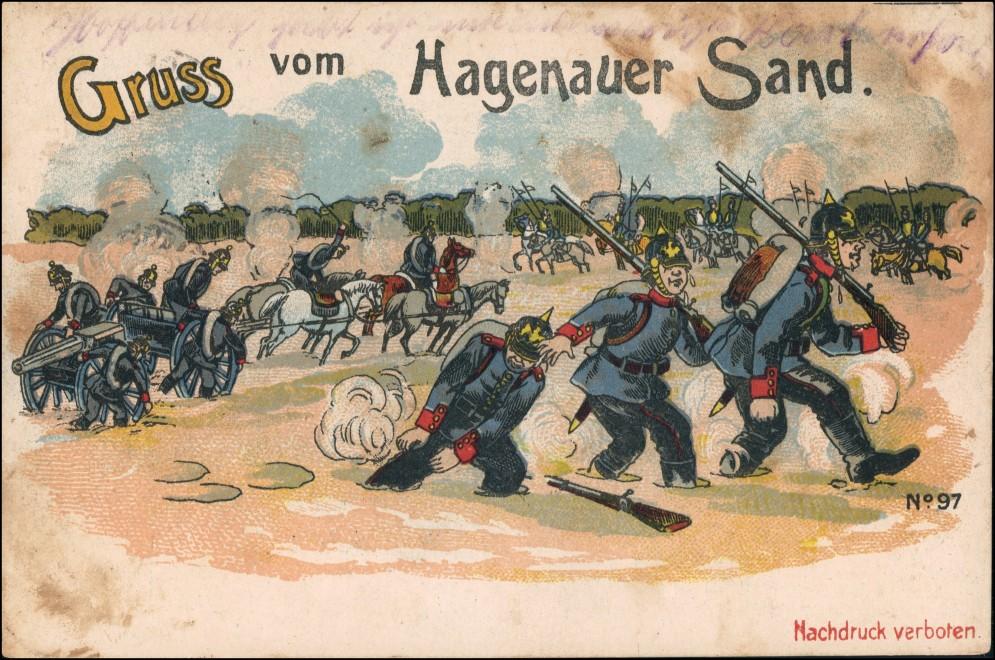 Hagenau Haguenau Hàwenàu Gruss aus - Soldaten Litho AK Sand 1916 Privatfoto