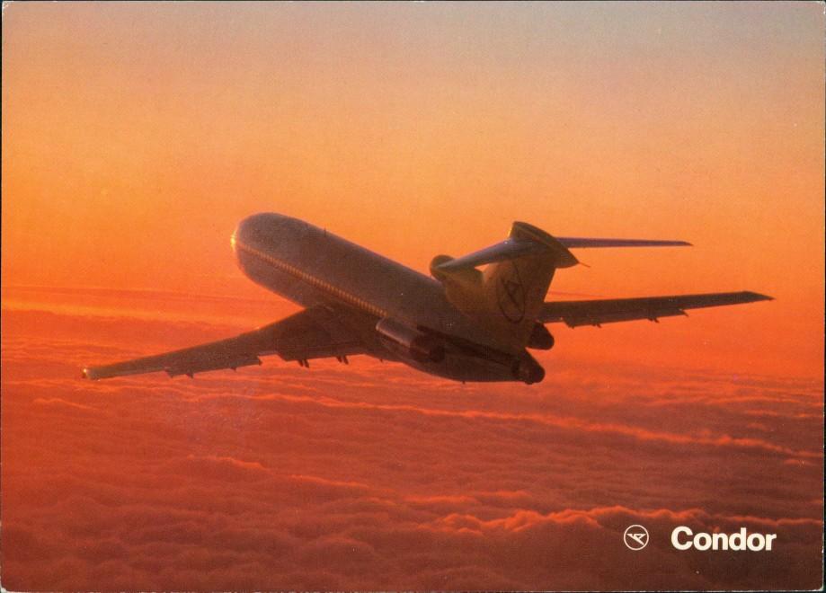 Ansichtskarte  Condor Europa-Jet Flugzeug Flug im Abendlicht 1980