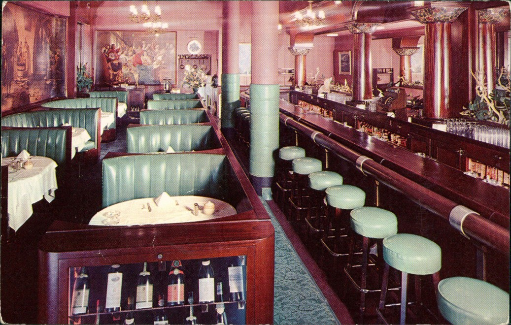 San Francisco Food Bar Bush Street Inside View, Innenansicht 1960