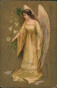 Glückwunsch/Grußkarten: Weihnachten Prägekarte Engel 1905 Goldrand