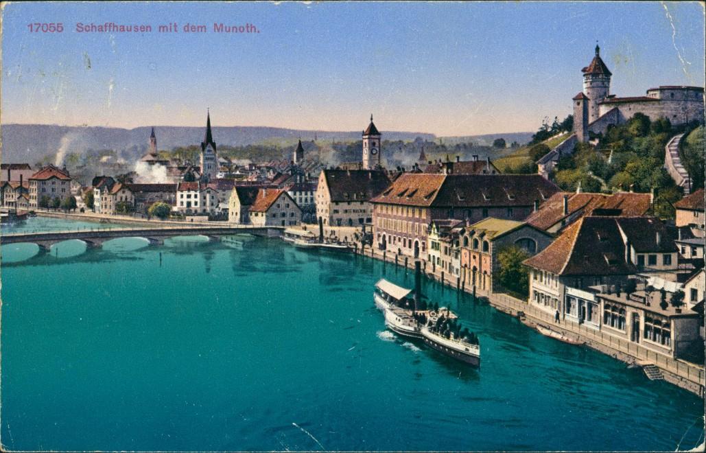 Schaffhausen Stadtteilansicht mit dem Munoth. Panorama  Schiff, Brücke 1925
