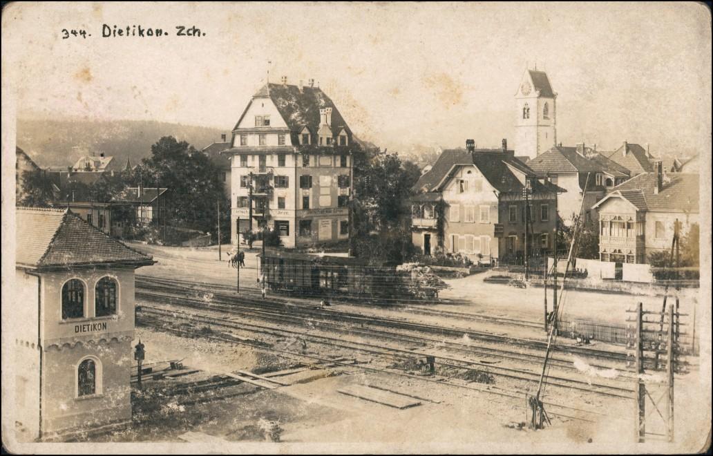 Ansichtskarte Dietikon Bahnhof - Häuser 1917