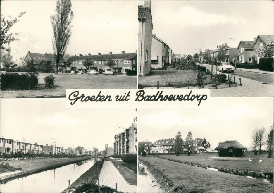 Postkaart Badhoevedorp-Haarlemmermeer 4 Bild, Autos Häuser 1965