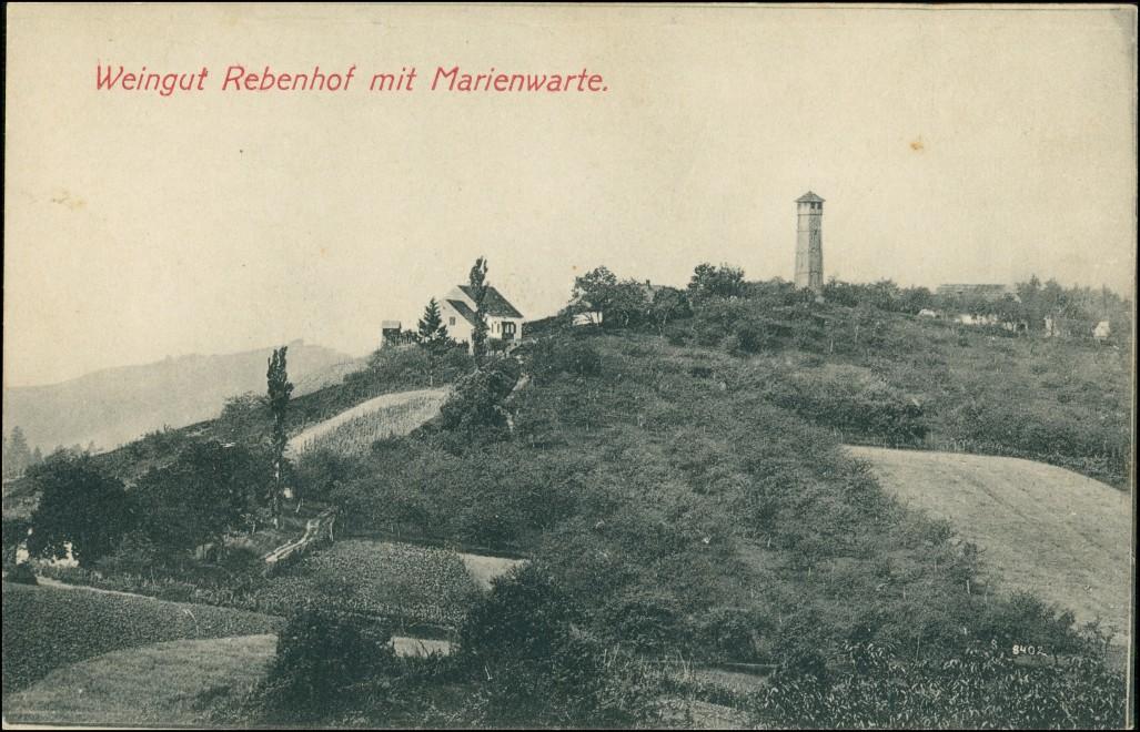 Ansichtskarte Ratsch an der Weinstraße Weingut Rebenhof mit Marienwarte 1912