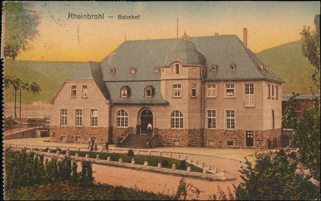 Ansichtskarte Rheinbrohl Partie am Bahnhof 1923