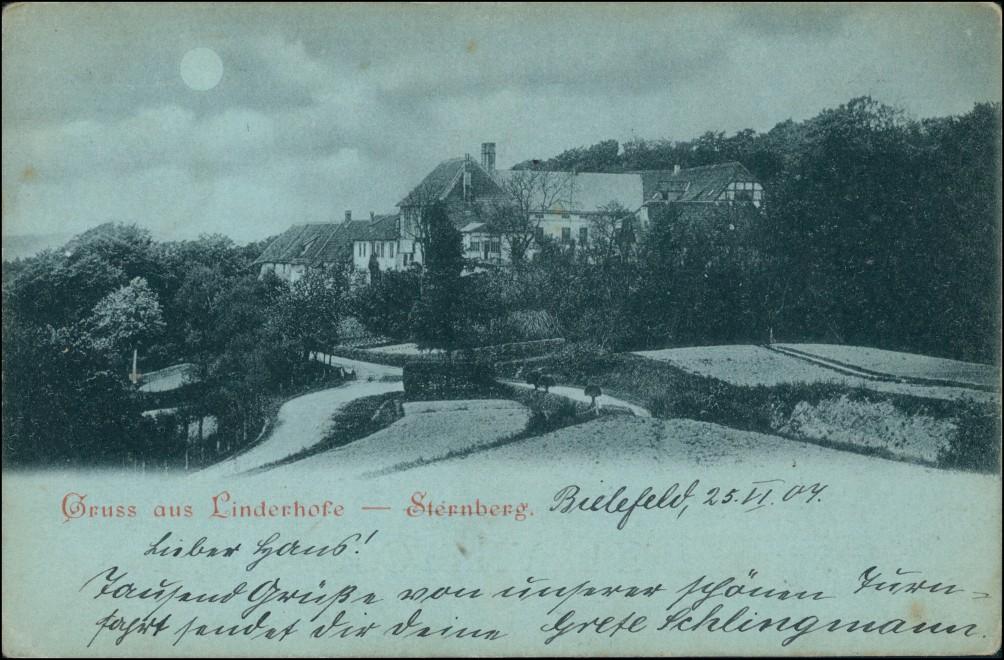 Ansichtskarte Linderhofe-Extertal Straße Mondscheinlitho 1904