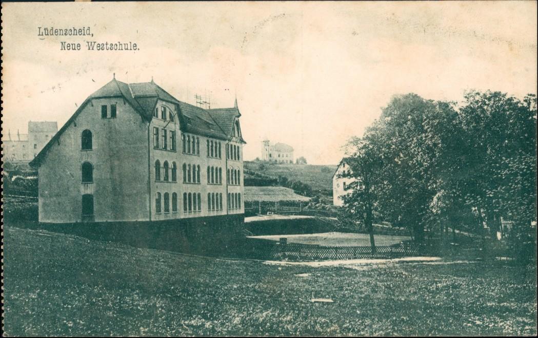Ansichtskarte Lüdenscheid Partie an der neuen Westschule 1909
