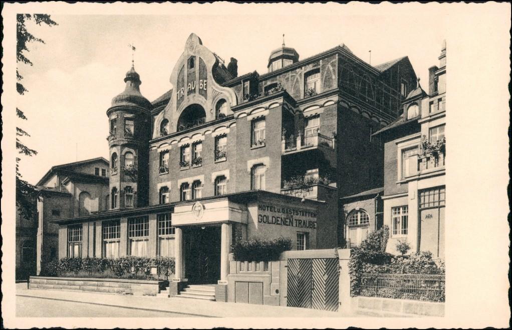 Ansichtskarte Coburg Gaststätte goldene Traube 1934