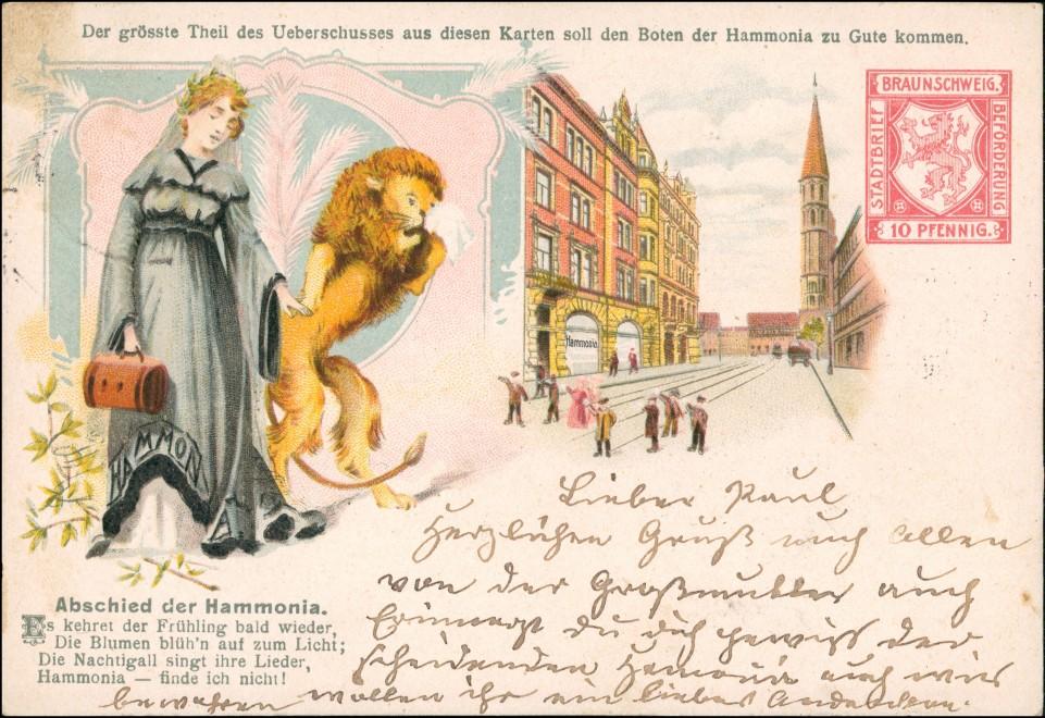 Ansichtskarte Litho AK Braunschweig Straße Abschied von der Stadtpost 1904