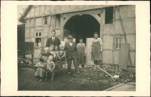 Familienfoto Gutshaus, Fahrrad Schupkarre, Arbeiter, Beruf 1939 Privatfoto