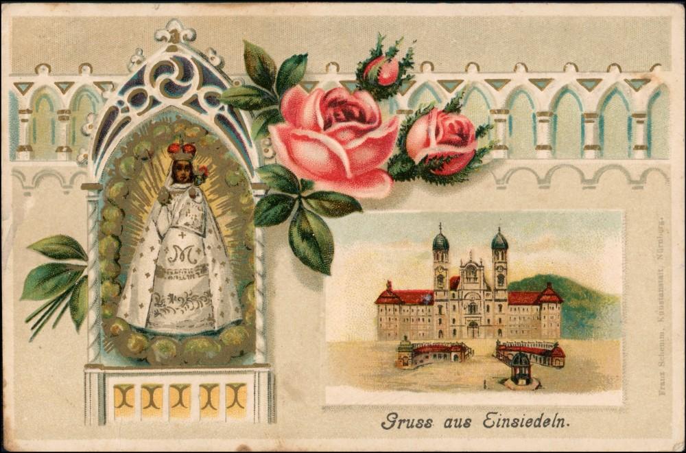 Ansichtskarte Einsiedeln Kloster - Prägekarte - MB 1911 Prägekarte