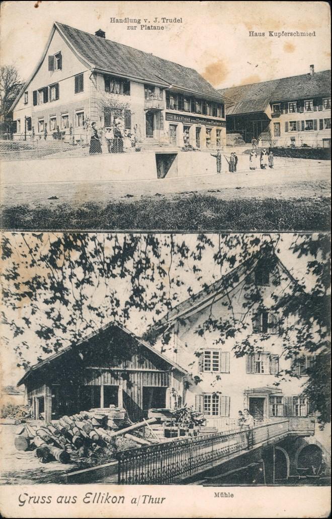 Ansichtskarte Ellikon an der Thur 2 Bild Gasthaus und Mühle 1909