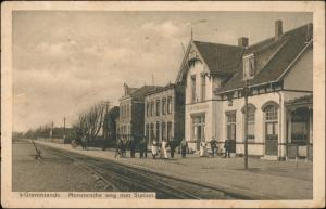 Postkaart 's-Gravenzande Straße Bahnhof Station 1937
