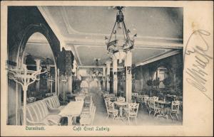 Ansichtskarte Darmstadt Cafe Ernst Ludwig -Saal Rheinstraße 1910